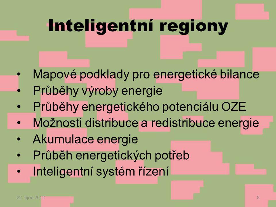 Inteligentní regiony •Mapové podklady pro energetické bilance •Průběhy výroby energie •Průběhy energetického potenciálu OZE •Možnosti distribuce a redistribuce energie •Akumulace energie •Průběh energetických potřeb •Inteligentní systém řízení 22.