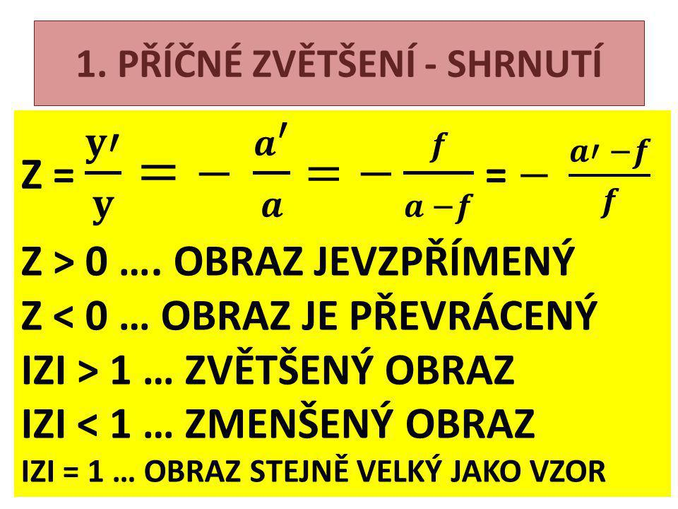 1. PŘÍČNÉ ZVĚTŠENÍ - SHRNUTÍ Z > 0 ….