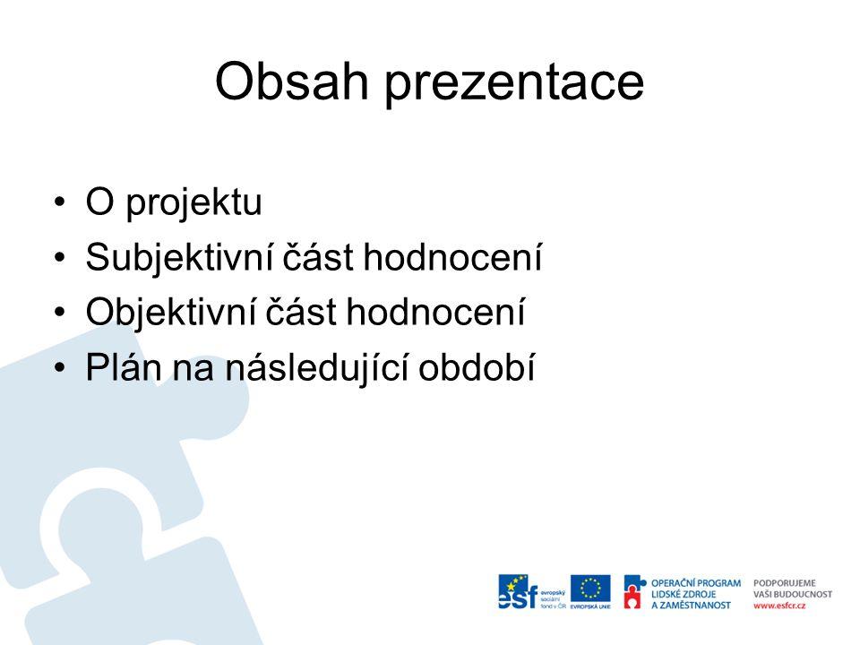 Obsah prezentace •O projektu •Subjektivní část hodnocení •Objektivní část hodnocení •Plán na následující období