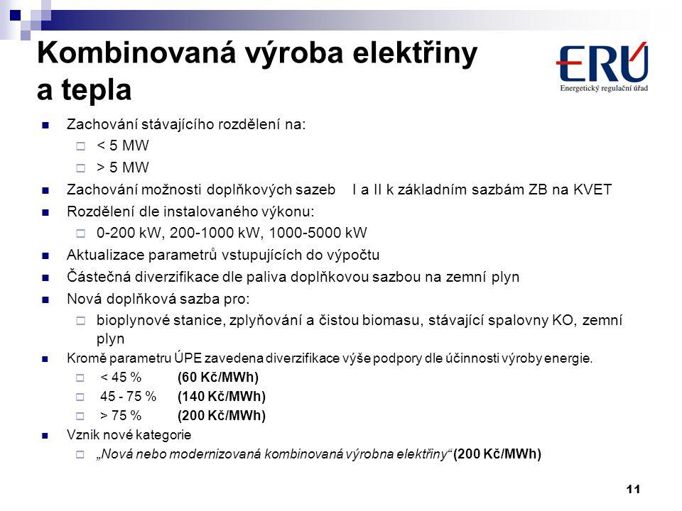 Kombinovaná výroba elektřiny a tepla  Zachování stávajícího rozdělení na:  < 5 MW  > 5 MW  Zachování možnosti doplňkových sazeb I a II k základním