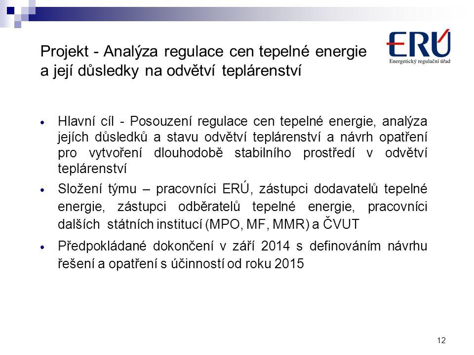 12 Projekt - Analýza regulace cen tepelné energie a její důsledky na odvětví teplárenství  Hlavní cíl - Posouzení regulace cen tepelné energie, analý