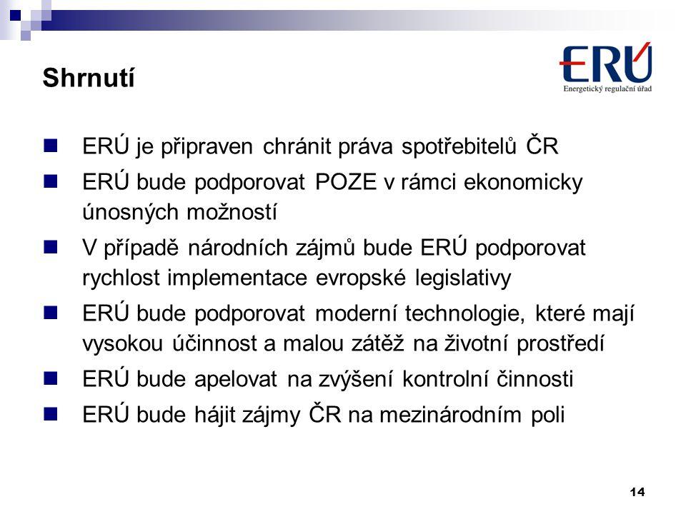 14 Shrnutí  ERÚ je připraven chránit práva spotřebitelů ČR  ERÚ bude podporovat POZE v rámci ekonomicky únosných možností  V případě národních zájm