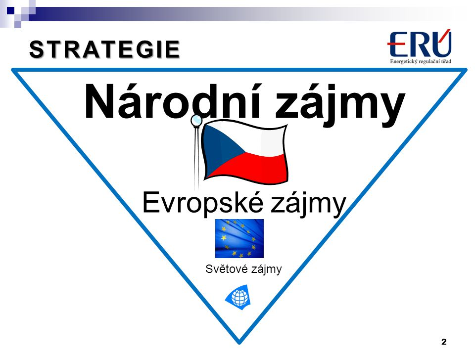 Národní zájmy Evropské zájmy Světové zájmy 2 STRATEGIE