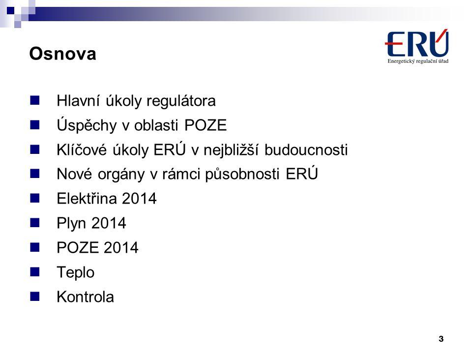 3 Osnova  Hlavní úkoly regulátora  Úspěchy v oblasti POZE  Klíčové úkoly ERÚ v nejbližší budoucnosti  Nové orgány v rámci působnosti ERÚ  Elektři