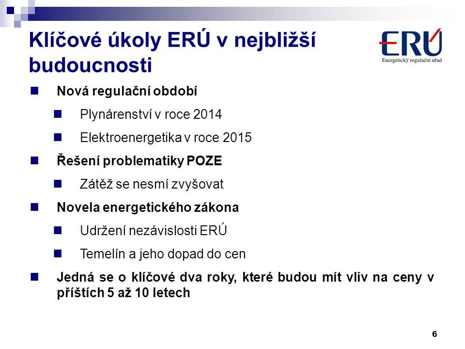 6  Nová regulační období  Plynárenství v roce 2014  Elektroenergetika v roce 2015  Řešení problematiky POZE  Zátěž se nesmí zvyšovat  Novela ene