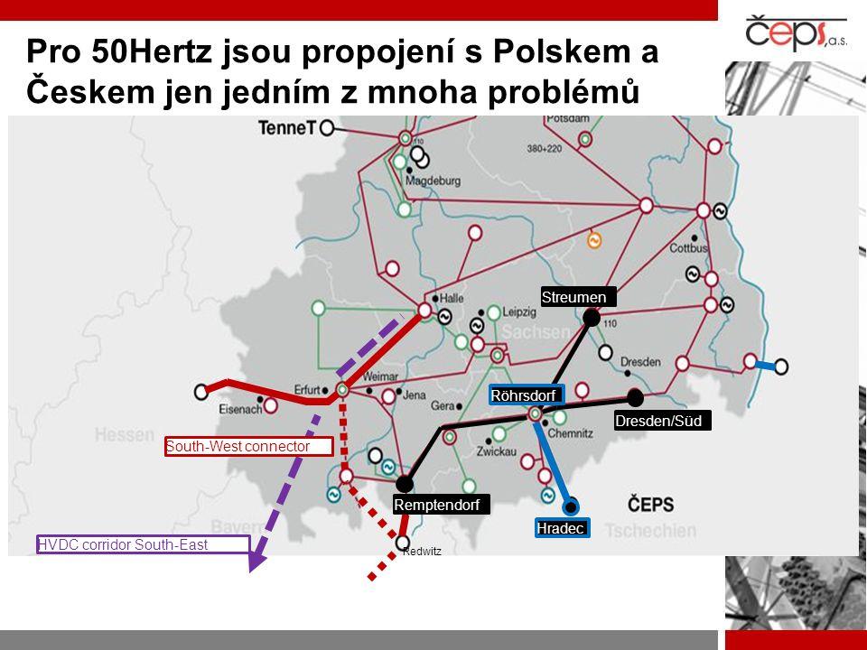 Pro 50Hertz jsou propojení s Polskem a Českem jen jedním z mnoha problémů Hradec Dresden/Süd Streumen Röhrsdorf Remptendorf HVDC corridor South-East S