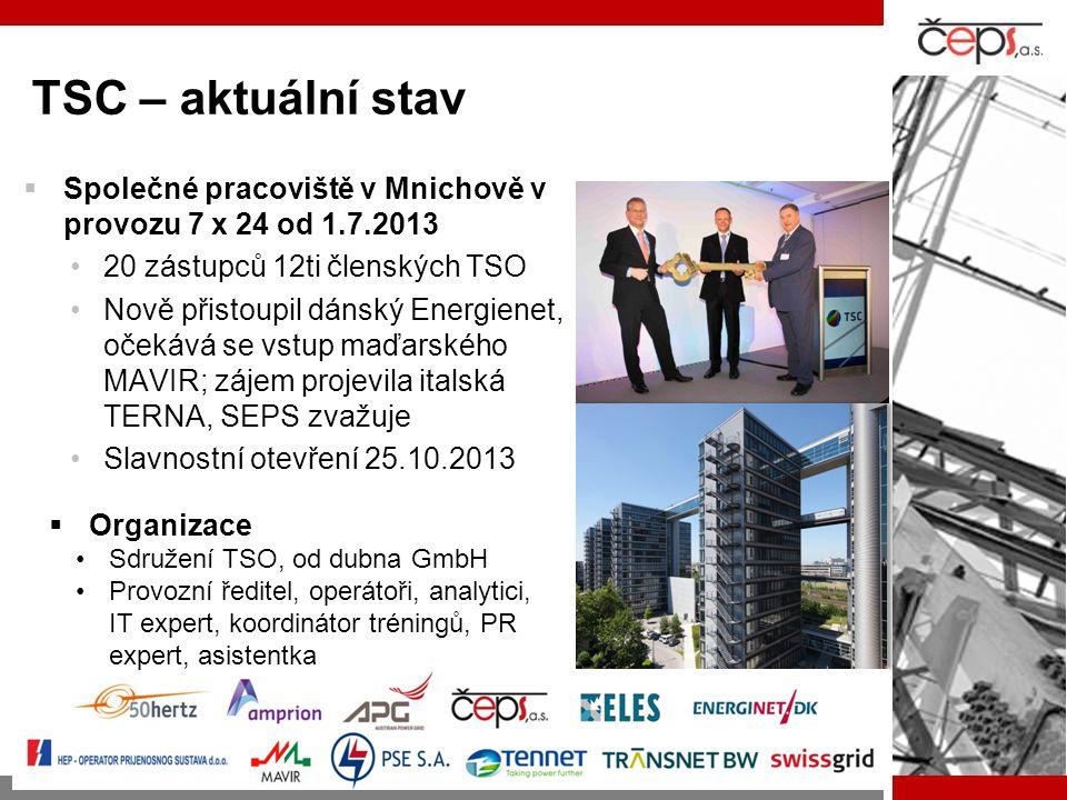 TSC – aktuální stav  Společné pracoviště v Mnichově v provozu 7 x 24 od 1.7.2013 •20 zástupců 12ti členských TSO •Nově přistoupil dánský Energienet,