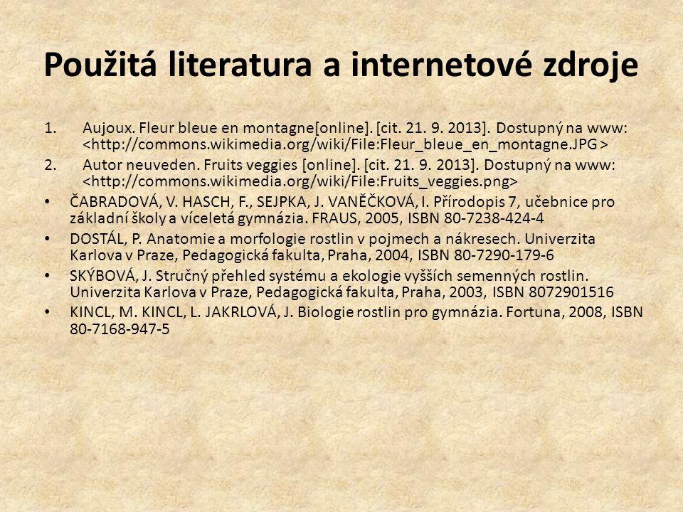 Použitá literatura a internetové zdroje 1.Aujoux.Fleur bleue en montagne[online].