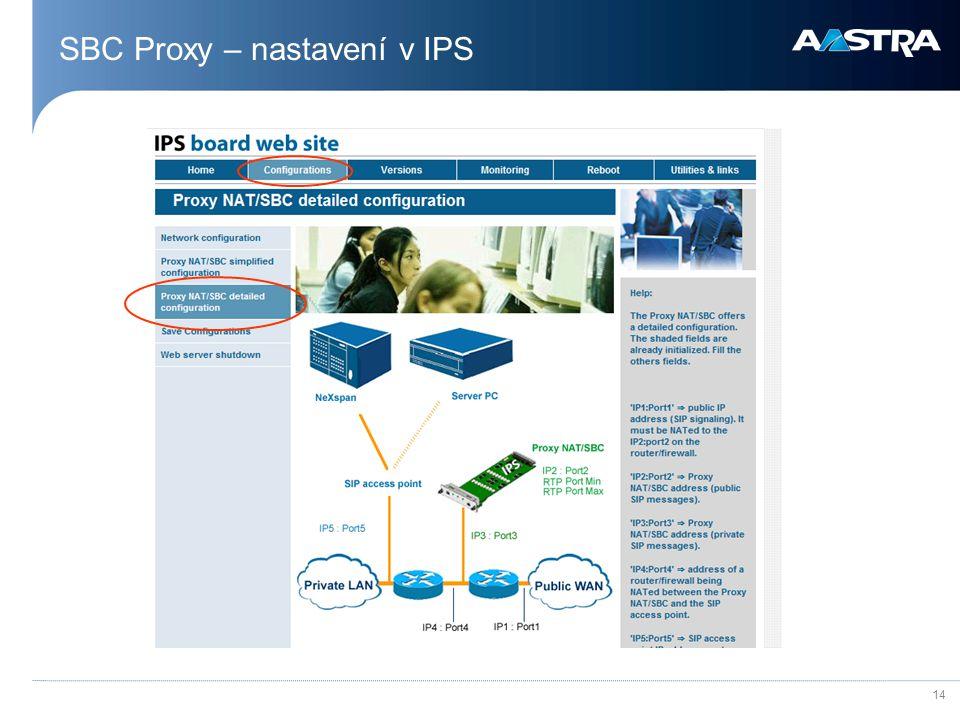 14 SBC Proxy – nastavení v IPS