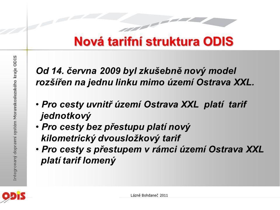 Od 14. června 2009 byl zkušebně nový model rozšířen na jednu linku mimo území Ostrava XXL. • Pro cesty uvnitř území Ostrava XXL platí tarif jednotkový