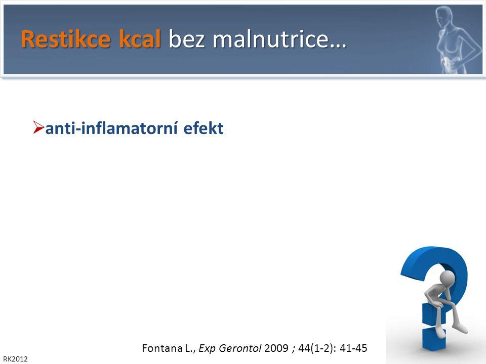 RK2012 Restikce kcal bez malnutrice…  anti-inflamatorní efekt   produkce kortikoidů   glykémie,  insulin-sensitivity   napětí n.vagus   produkce ghrelinu - peptid secernovaný bb žal.