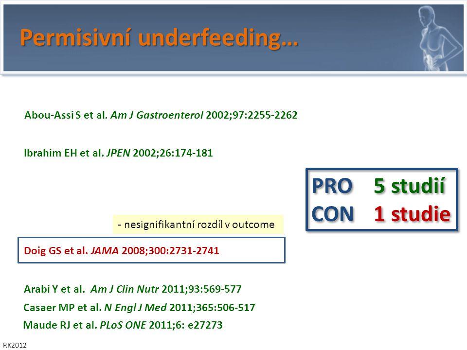 Permisivní underfeeding… RK2012 Villet S et al. Clin Nutr 2005; 24:502-509 Rubinson L et al.