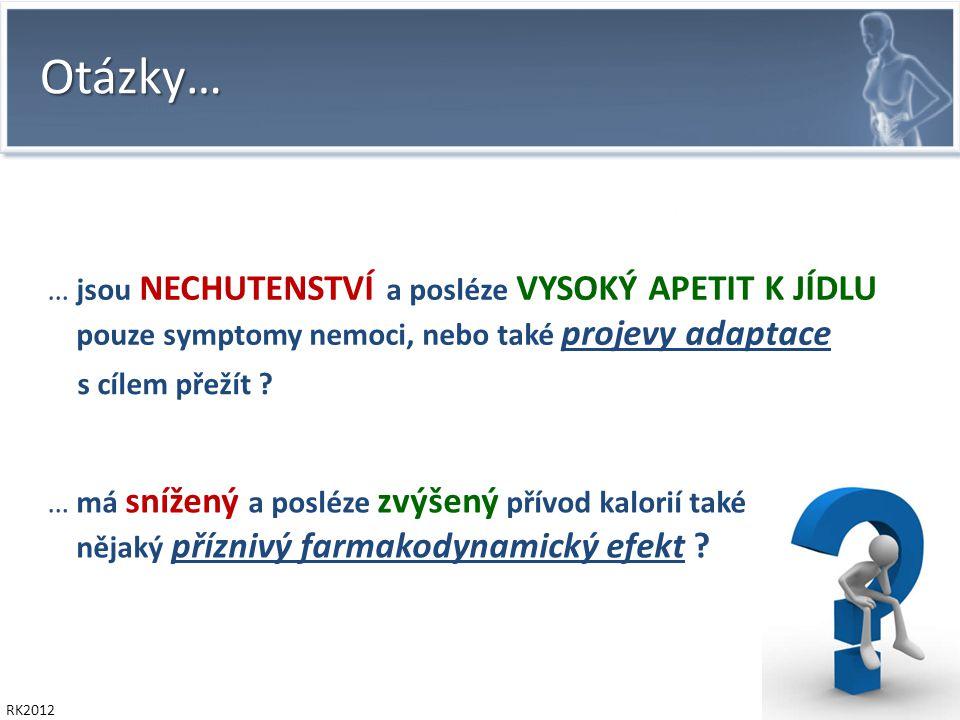 RK2012 Otázky… … jsou NECHUTENSTVÍ a posléze VYSOKÝ APETIT K JÍDLU pouze symptomy nemoci, nebo také projevy adaptace … má snížený a posléze zvýšený přívod kalorií také nějaký příznivý farmakodynamický efekt .