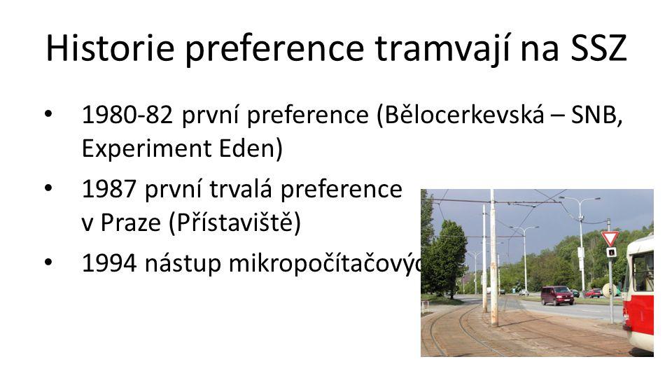 Historie preference tramvají na SSZ • 1980-82 první preference (Bělocerkevská – SNB, Experiment Eden) • 1987 první trvalá preference v Praze (Přístaviště) • 1994 nástup mikropočítačových řadičů (Mánes)