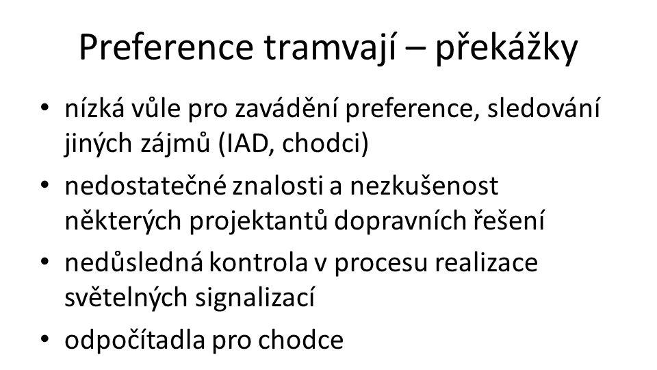 Preference tramvají – překážky • nízká vůle pro zavádění preference, sledování jiných zájmů (IAD, chodci) • nedostatečné znalosti a nezkušenost některých projektantů dopravních řešení • nedůsledná kontrola v procesu realizace světelných signalizací • odpočítadla pro chodce