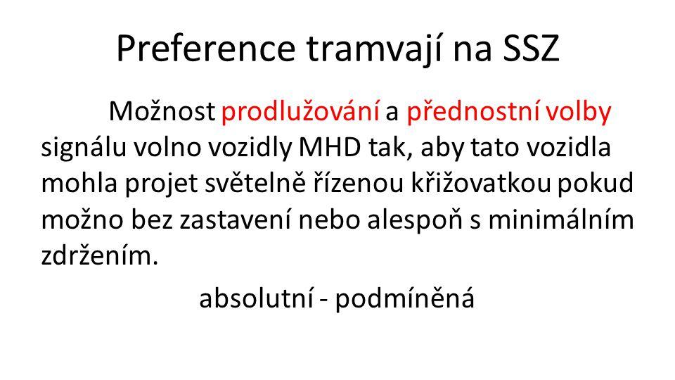 Preference tramvají na SSZ Možnost prodlužování a přednostní volby signálu volno vozidly MHD tak, aby tato vozidla mohla projet světelně řízenou křižovatkou pokud možno bez zastavení nebo alespoň s minimálním zdržením.