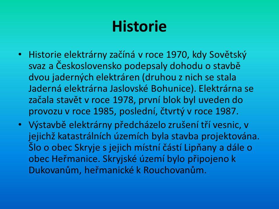 Historie • Historie elektrárny začíná v roce 1970, kdy Sovětský svaz a Československo podepsaly dohodu o stavbě dvou jaderných elektráren (druhou z nich se stala Jaderná elektrárna Jaslovské Bohunice).