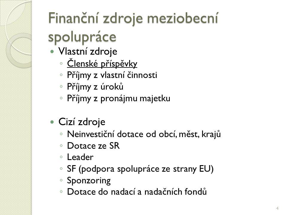 Finanční zdroje meziobecní spolupráce  Vlastní zdroje ◦ Členské příspěvky ◦ Příjmy z vlastní činnosti ◦ Příjmy z úroků ◦ Příjmy z pronájmu majetku  Cizí zdroje ◦ Neinvestiční dotace od obcí, měst, krajů ◦ Dotace ze SR ◦ Leader ◦ SF (podpora spolupráce ze strany EU) ◦ Sponzoring ◦ Dotace do nadací a nadačních fondů 4