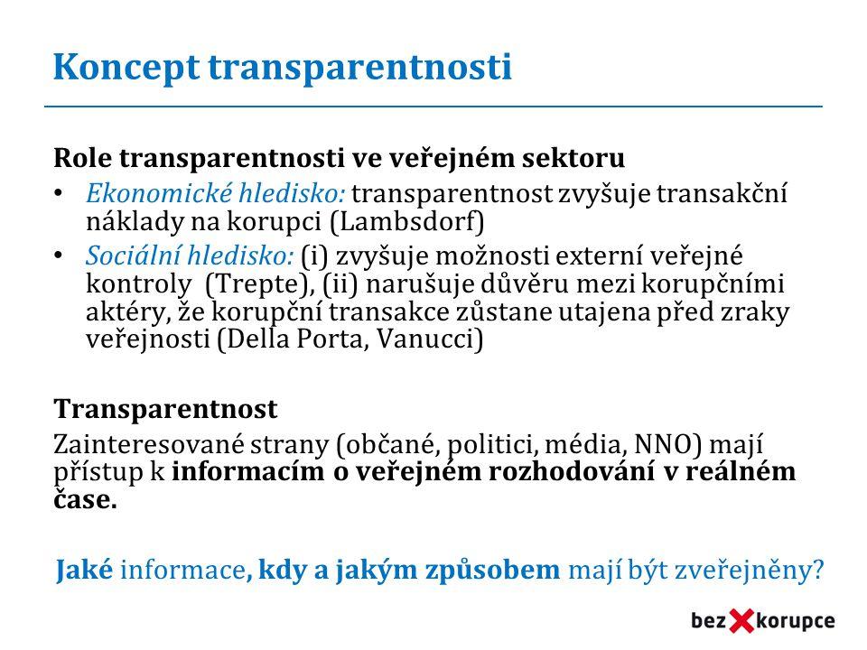 Koncept transparentnosti Role transparentnosti ve veřejném sektoru • Ekonomické hledisko: transparentnost zvyšuje transakční náklady na korupci (Lambsdorf) • Sociální hledisko: (i) zvyšuje možnosti externí veřejné kontroly (Trepte), (ii) narušuje důvěru mezi korupčními aktéry, že korupční transakce zůstane utajena před zraky veřejnosti (Della Porta, Vanucci) Transparentnost Zainteresované strany (občané, politici, média, NNO) mají přístup k informacím o veřejném rozhodování v reálném čase.