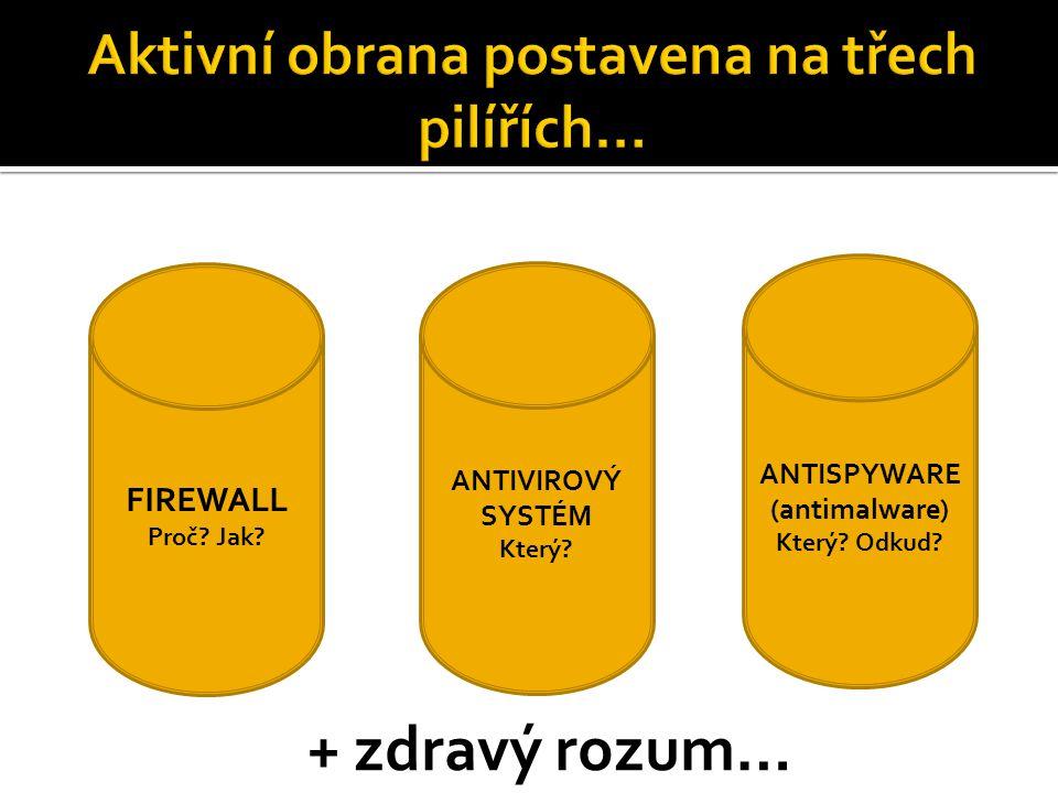 FIREWALL Proč. Jak. ANTIVIROVÝ SYSTÉM Který. ANTISPYWARE (antimalware) Který.