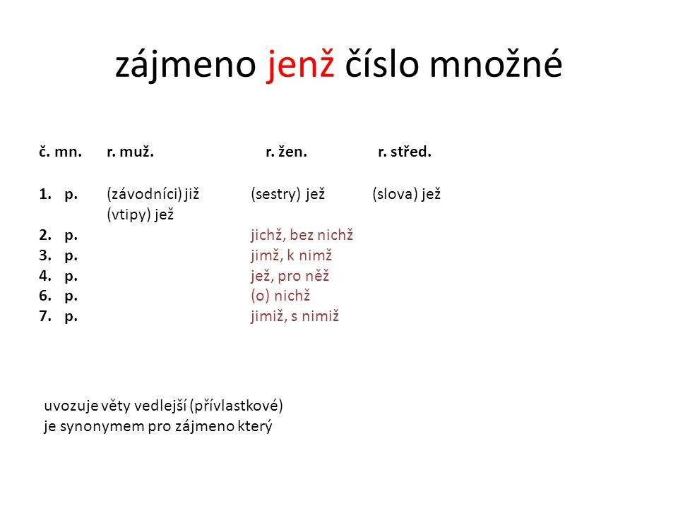 cvičení 1 doplň správné tvary zájmena JENŽ: pádčíslorodtvar 2.j.žen.