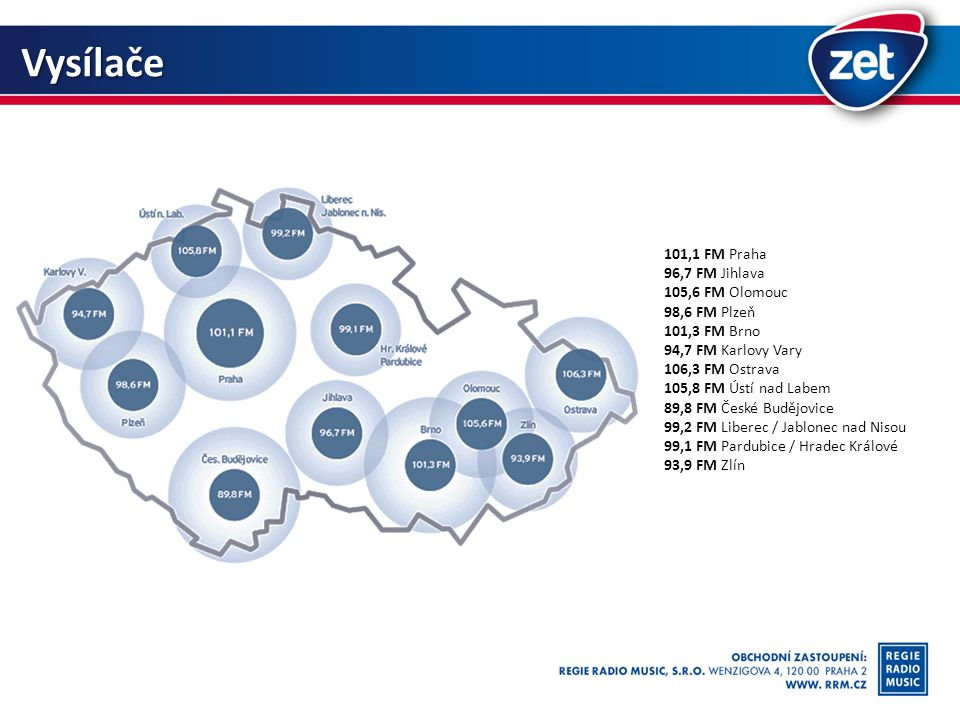 Vysílače 101,1 FM Praha 96,7 FM Jihlava 105,6 FM Olomouc 98,6 FM Plzeň 101,3 FM Brno 94,7 FM Karlovy Vary 106,3 FM Ostrava 105,8 FM Ústí nad Labem 89,