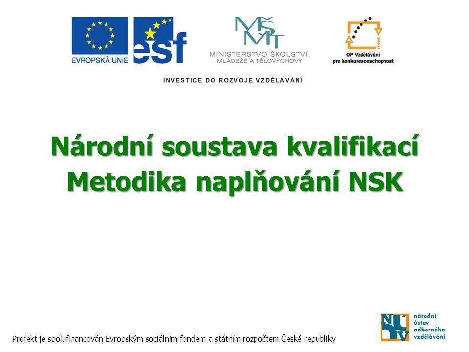 Národní soustava kvalifikací Metodika naplňování NSK Projekt je spolufinancován Evropským sociálním fondem a státním rozpočtem České republiky
