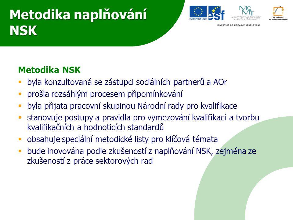 Metodika naplňování NSK Metodika NSK  byla konzultovaná se zástupci sociálních partnerů a AOr  prošla rozsáhlým procesem připomínkování  byla přija