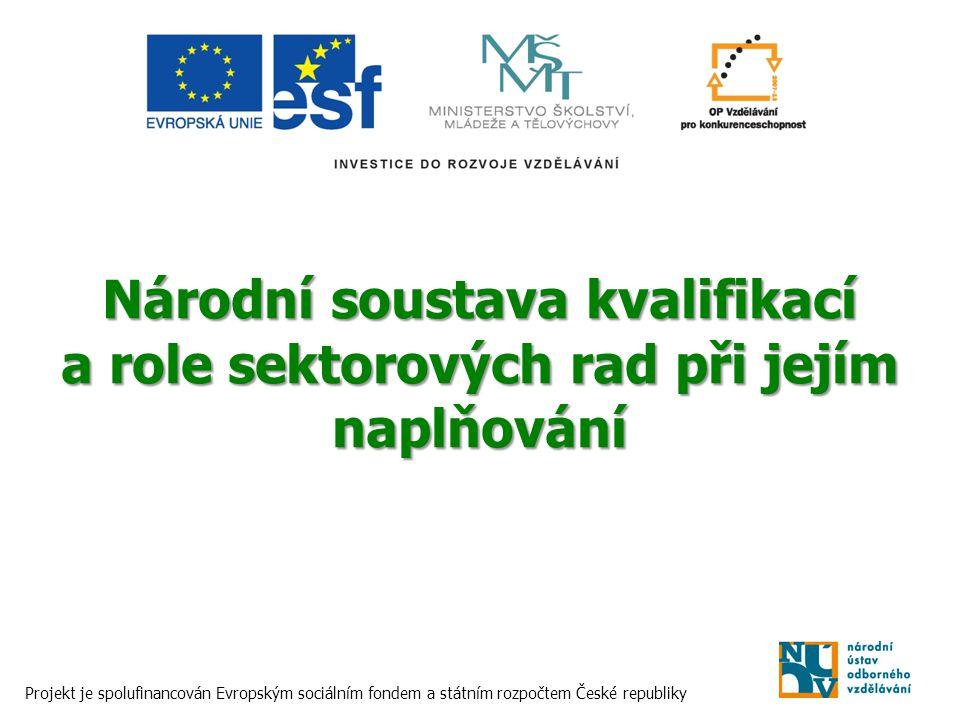 Národní soustava kvalifikací a role sektorových rad při jejím naplňování Projekt je spolufinancován Evropským sociálním fondem a státním rozpočtem Čes