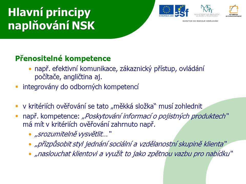 Hlavní principy naplňování NSK Přenositelné kompetence •např. efektivní komunikace, zákaznický přístup, ovládání počítače, angličtina aj.  integrován