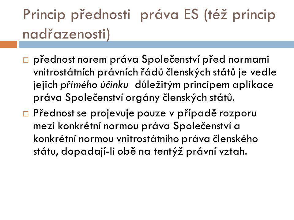 Judikatura  Rozhodnutí ESD ve věci Van Gend en Loos (26/62).