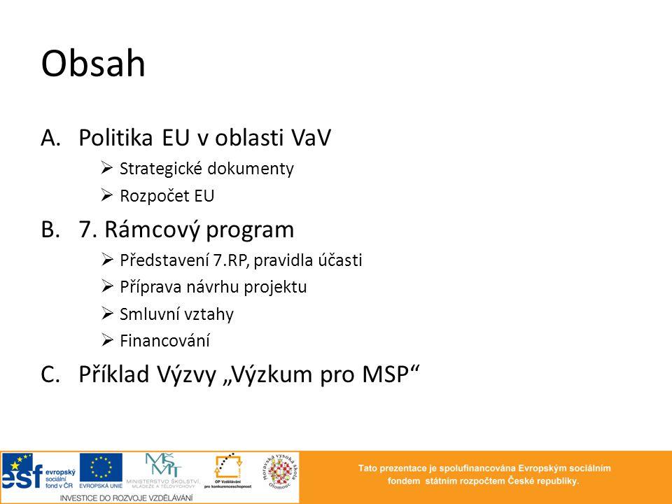 Obsah A.Politika EU v oblasti VaV  Strategické dokumenty  Rozpočet EU B.7. Rámcový program  Představení 7.RP, pravidla účasti  Příprava návrhu pro