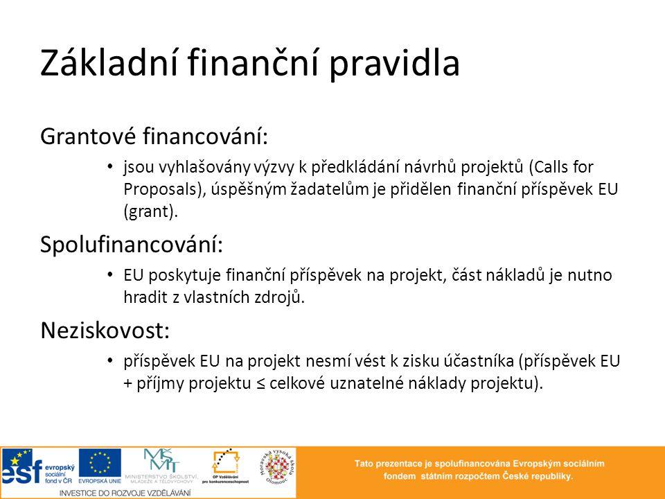 Základní finanční pravidla Grantové financování: • jsou vyhlašovány výzvy k předkládání návrhů projektů (Calls for Proposals), úspěšným žadatelům je p