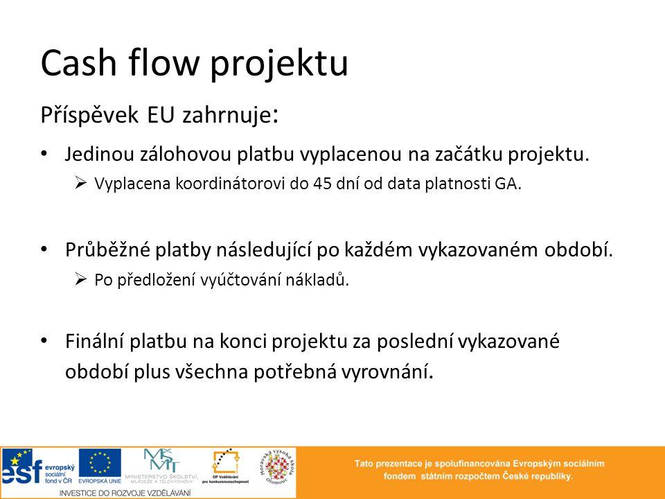 Cash flow projektu Příspěvek EU zahrnuje : • Jedinou zálohovou platbu vyplacenou na začátku projektu.  Vyplacena koordinátorovi do 45 dní od data pla