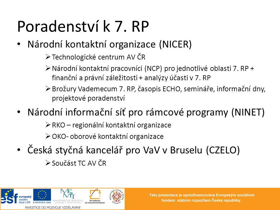 Poradenství k 7. RP • Národní kontaktní organizace (NICER)  Technologické centrum AV ČR  Národní kontaktní pracovníci (NCP) pro jednotlivé oblasti 7