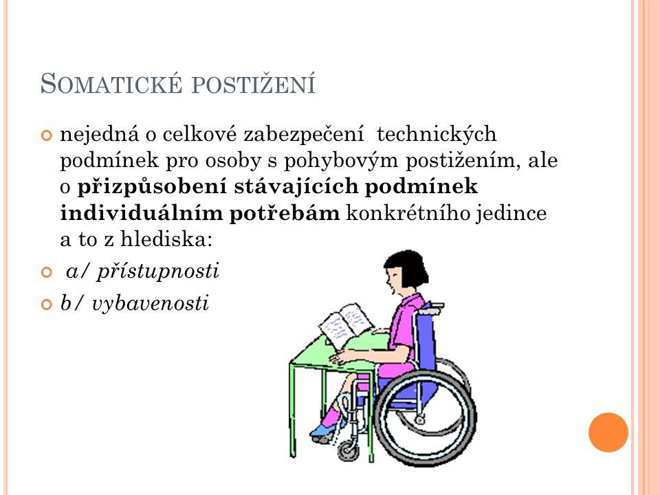 S OMATICKÉ POSTIŽENÍ nejedná o celkové zabezpečení technických podmínek pro osoby s pohybovým postižením, ale o přizpůsobení stávajících podmínek individuálním potřebám konkrétního jedince a to z hlediska: a/ přístupnosti b/ vybavenosti