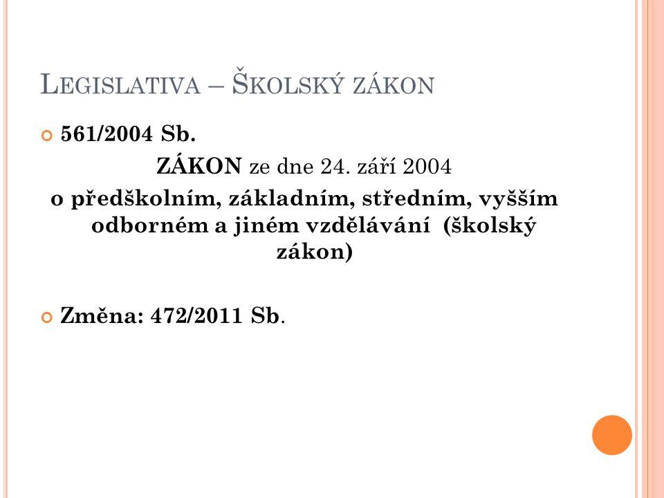 L EGISLATIVA – Š KOLSKÝ ZÁKON 561/2004 Sb.ZÁKON ze dne 24.