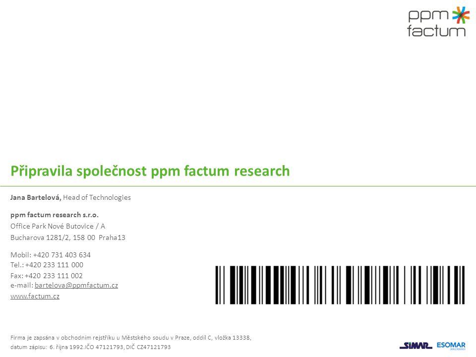 Připravila společnost ppm factum research Jana Bartelová, Head of Technologies ppm factum research s.r.o. Office Park Nové Butovice / A Bucharova 1281