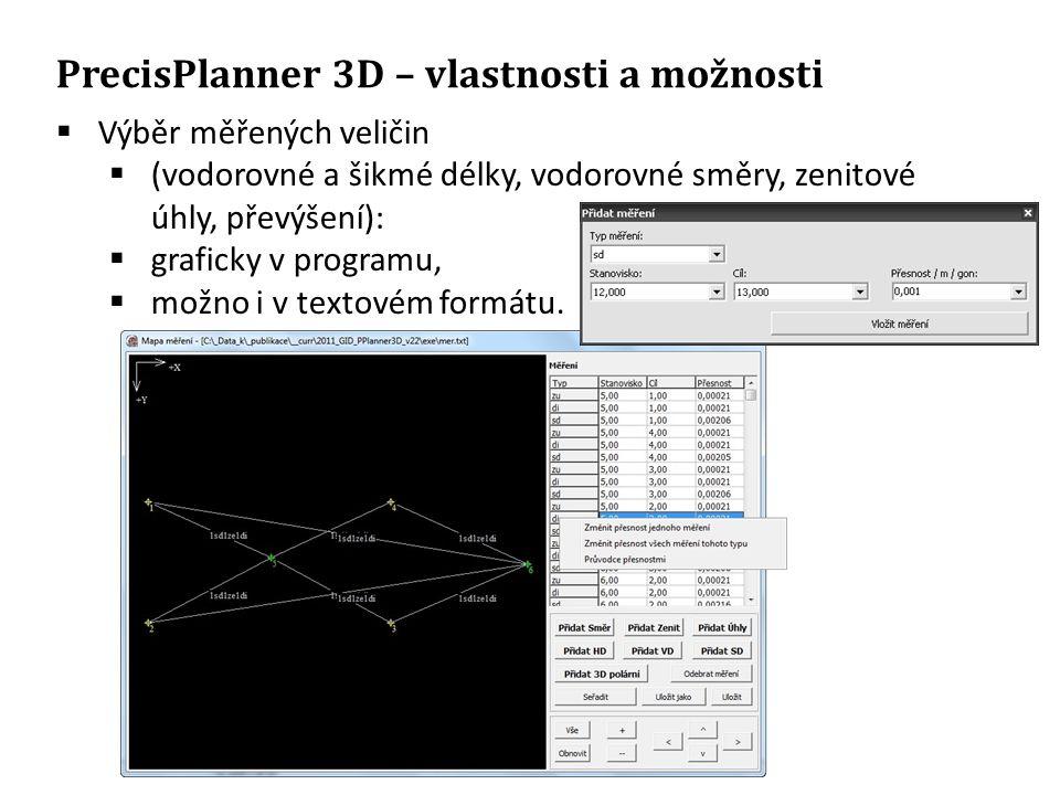 PrecisPlanner 3D – vlastnosti a možnosti  Výběr měřených veličin  (vodorovné a šikmé délky, vodorovné směry, zenitové úhly, převýšení):  graficky v