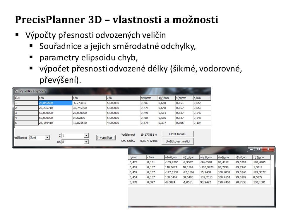 PrecisPlanner 3D – vlastnosti a možnosti  Výpočty přesnosti odvozených veličin  Souřadnice a jejich směrodatné odchylky,  parametry elipsoidu chyb,  výpočet přesnosti odvozené délky (šikmé, vodorovné, převýšení).