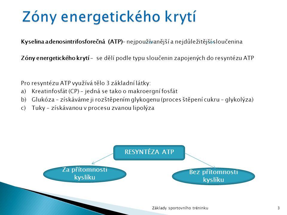 Kyselina adenosintrifosforečná (ATP)– nejpoužívanější a nejdůležitější sloučenina Zóny energetického krytí – se dělí podle typu sloučenin zapojených d