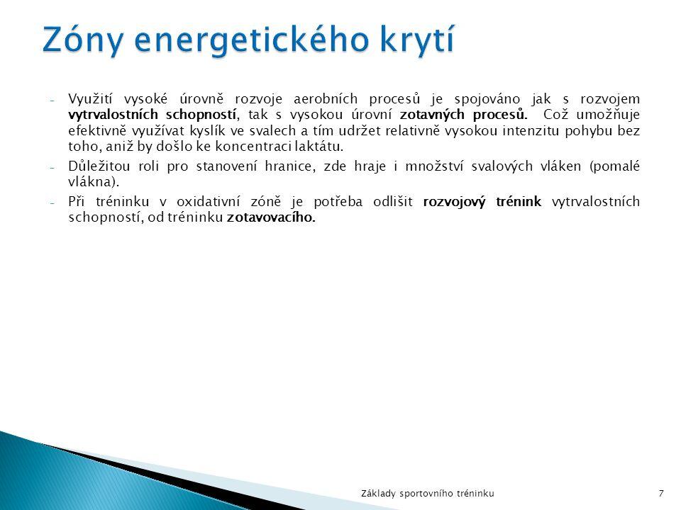 - Využití vysoké úrovně rozvoje aerobních procesů je spojováno jak s rozvojem vytrvalostních schopností, tak s vysokou úrovní zotavných procesů. Což u