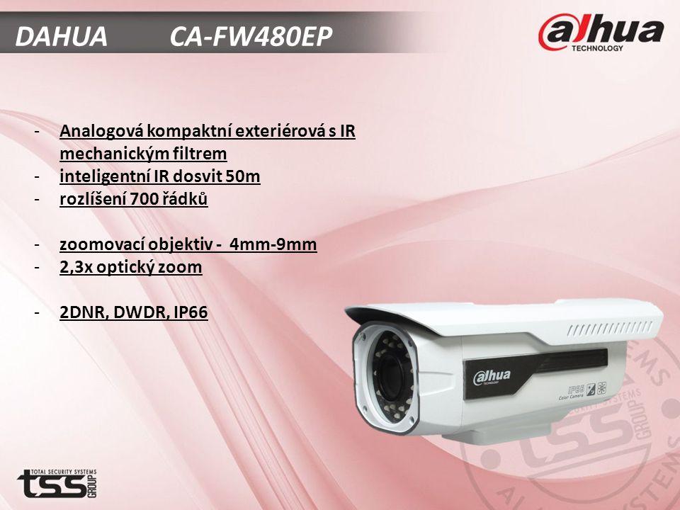 DAHUA CA-FW480EP -Analogová kompaktní exteriérová s IR mechanickým filtrem -inteligentní IR dosvit 50m -rozlíšení 700 řádků -zoomovací objektiv - 4mm-9mm -2,3x optický zoom -2DNR, DWDR, IP66