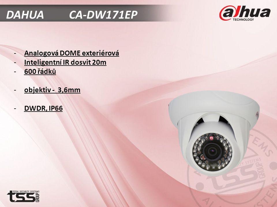 DAHUA CA-DW171EP -Analogová DOME exteriérová -Inteligentní IR dosvit 20m -600 řádků -objektiv - 3,6mm -DWDR, IP66