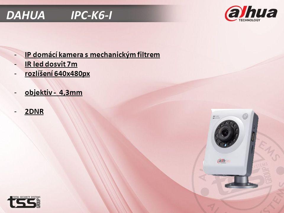 DAHUA IPC-K6-I -IP domácí kamera s mechanickým filtrem -IR led dosvit 7m -rozlíšení 640x480px -objektiv - 4,3mm -2DNR