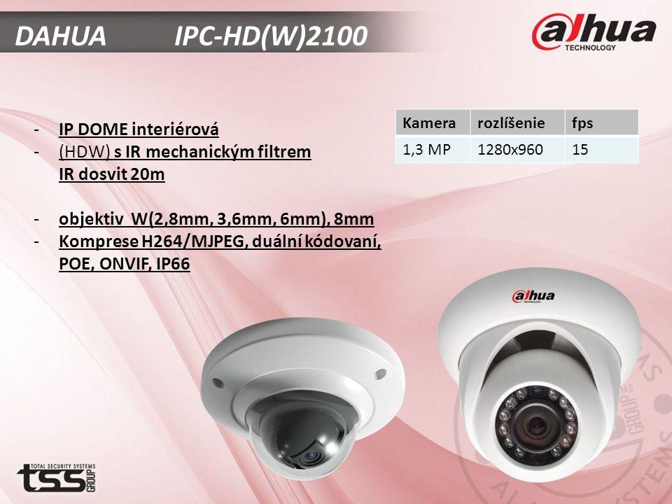 DAHUA IPC-HD(W)2100 -IP DOME interiérová -(HDW) s IR mechanickým filtrem IR dosvit 20m -objektiv W(2,8mm, 3,6mm, 6mm), 8mm -Komprese H264/MJPEG, duální kódovaní, POE, ONVIF, IP66 Kamerarozlíšeniefps 1,3 MP1280x96015