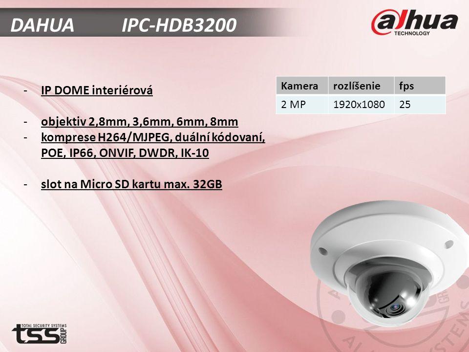 DAHUA IPC-HDB3200 -IP DOME interiérová -objektiv 2,8mm, 3,6mm, 6mm, 8mm -komprese H264/MJPEG, duální kódovaní, POE, IP66, ONVIF, DWDR, IK-10 -slot na Micro SD kartu max.