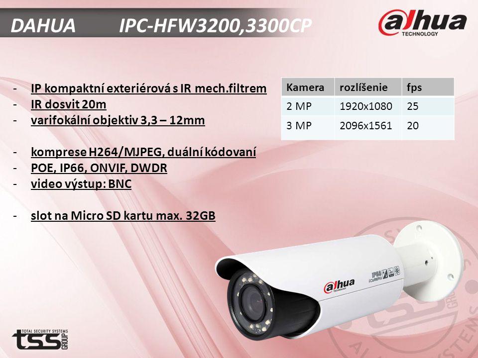 DAHUA IPC-HFW3200,3300CP -IP kompaktní exteriérová s IR mech.filtrem -IR dosvit 20m -varifokální objektiv 3,3 – 12mm -komprese H264/MJPEG, duální kódovaní -POE, IP66, ONVIF, DWDR -video výstup: BNC -slot na Micro SD kartu max.