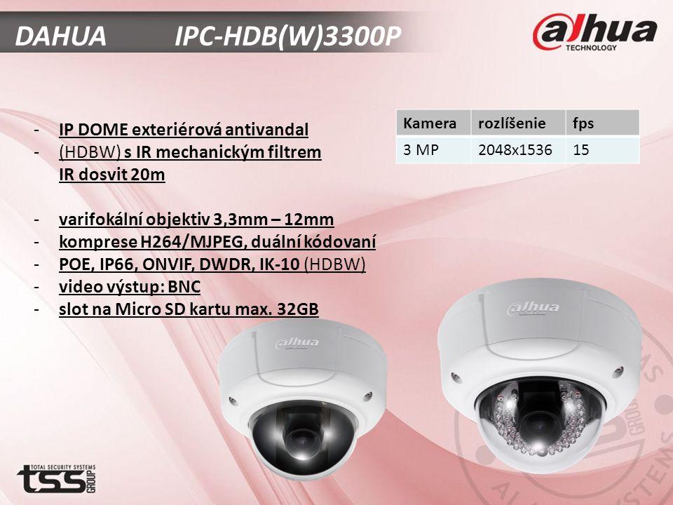 DAHUA IPC-HDB(W)3300P -IP DOME exteriérová antivandal -(HDBW) s IR mechanickým filtrem IR dosvit 20m -varifokální objektiv 3,3mm – 12mm -komprese H264/MJPEG, duální kódovaní -POE, IP66, ONVIF, DWDR, IK-10 (HDBW) -video výstup: BNC -slot na Micro SD kartu max.