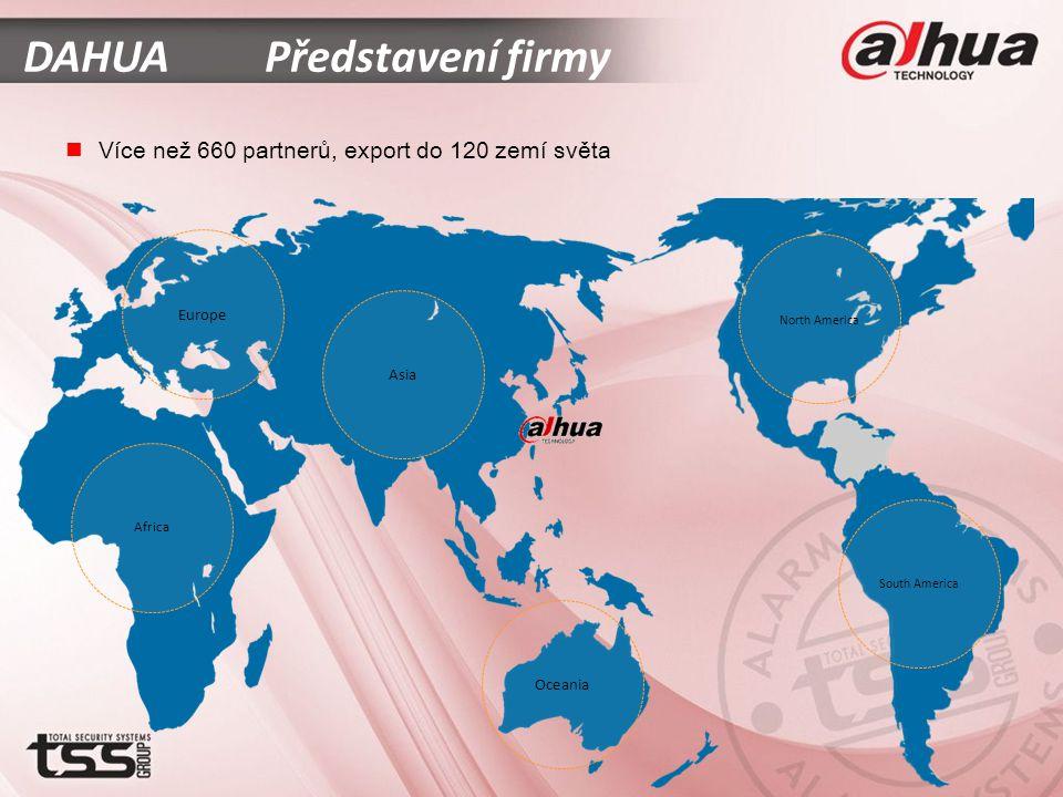 North America South America Oceania Africa Europe Asia  Více než 660 partnerů, export do 120 zemí světa DAHUA Představení firmy